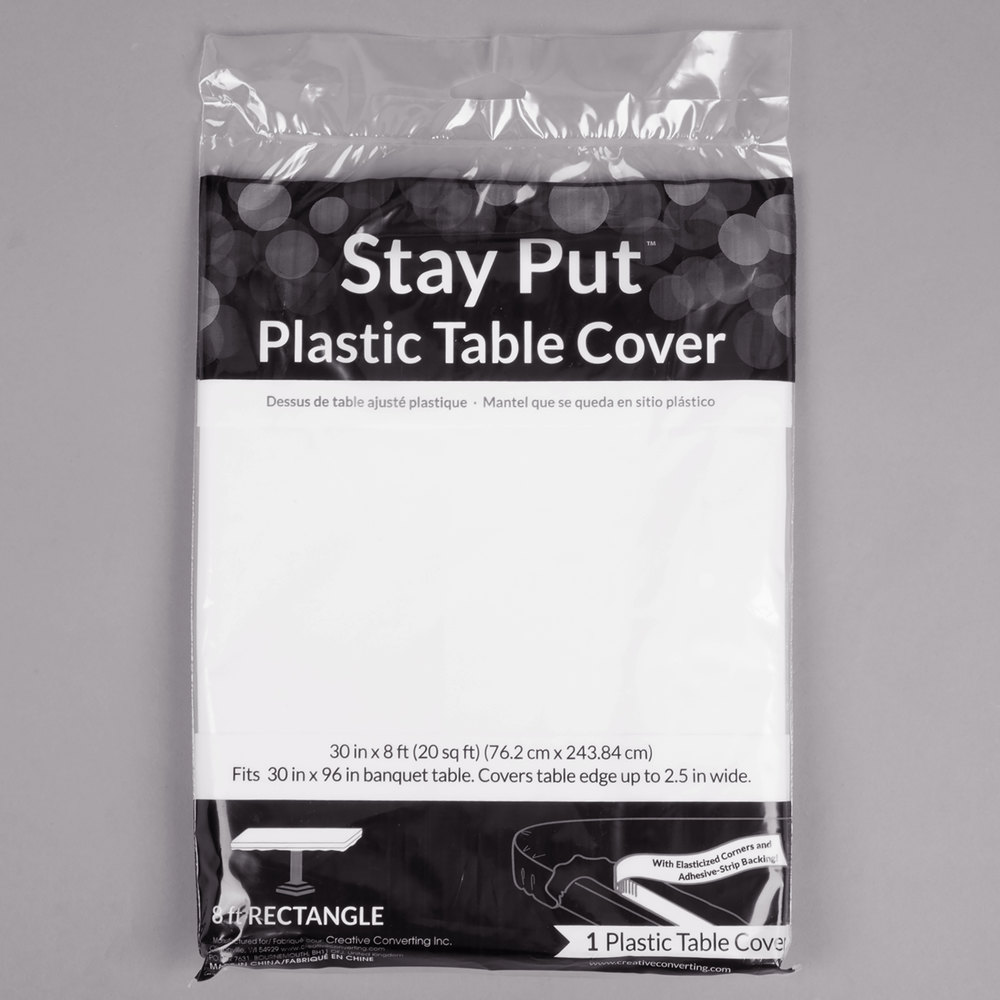 Round Plastic Table Covers With Elastic Creative Converting 37300 Stay Put 30 X 96 White Plastic Table