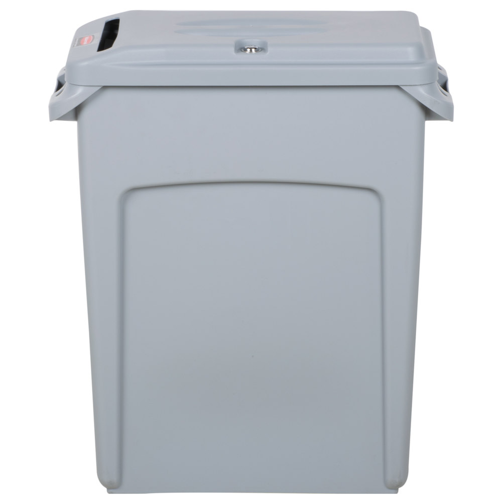 rubbermaid slim jim 16 gallon gray wall hugger trash can with light gray confidential document lid. Black Bedroom Furniture Sets. Home Design Ideas