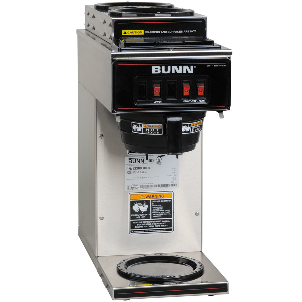 Bunn Industrial Coffee Maker Parts : Bunn 13300.0004 VP17-3 Low Profile Pourover Coffee Brewer with 3 Warmers
