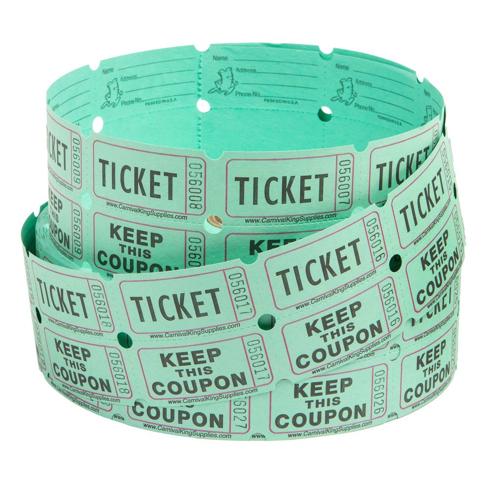 carnival king green part raffle tickets roll image preview