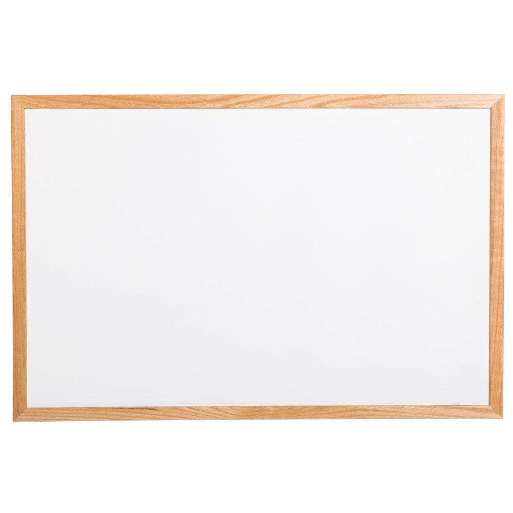 aarco 36quot x 48quot oak frame white marker board