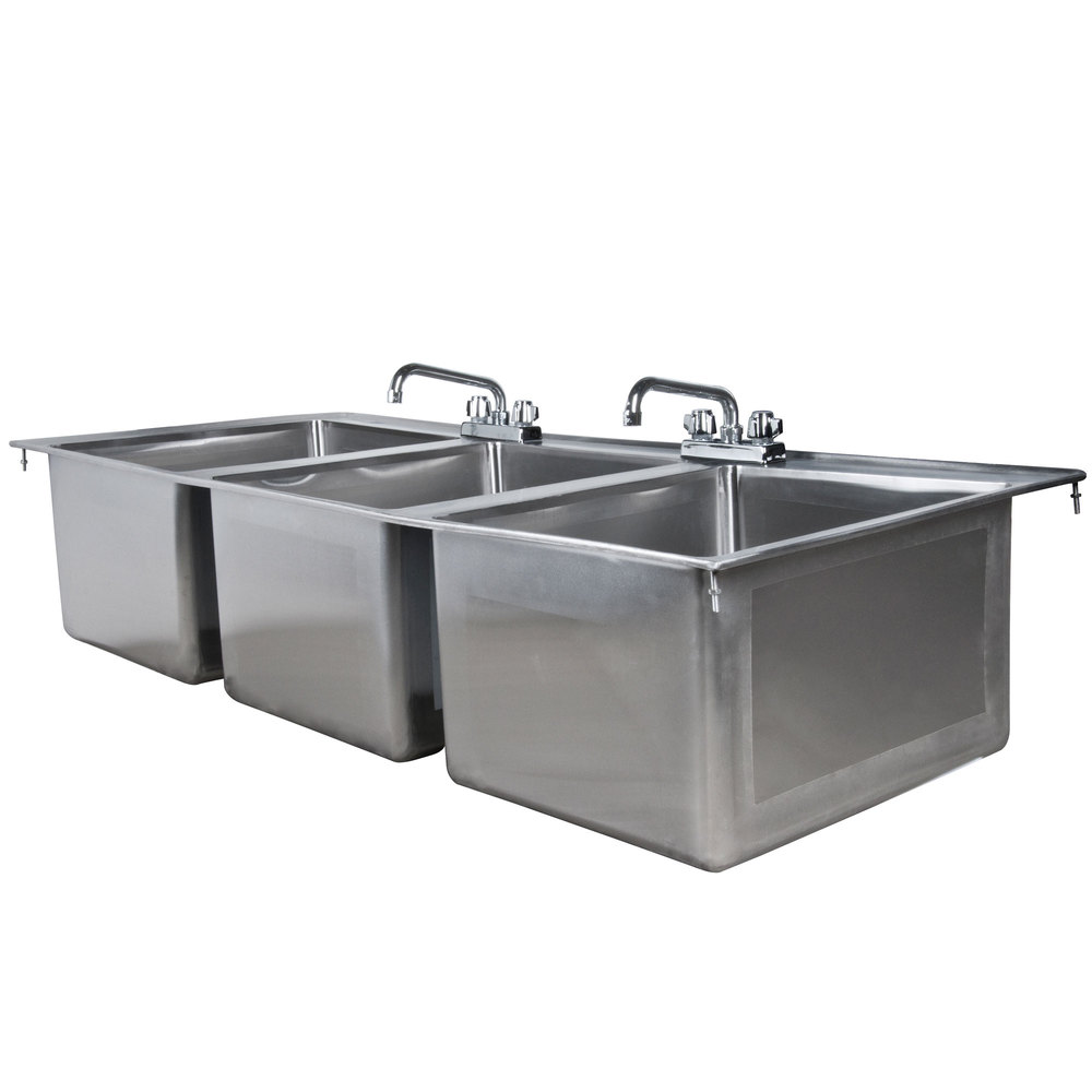 Faucet For 3 Compartment Sink : ... Stainless Steel Three Compartment Drop-In Sink with (2) 8