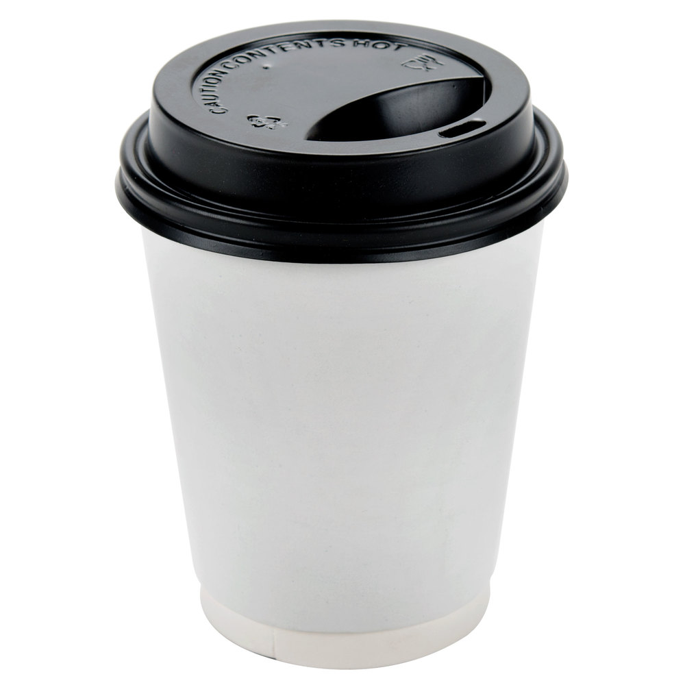 Cup With Lid : Choice oz black hot paper cup travel lid pack
