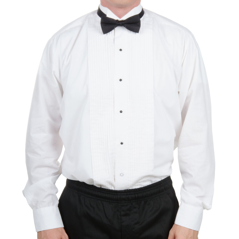 Men's formal white wing tip collar tuxedo shirt with a 1/4