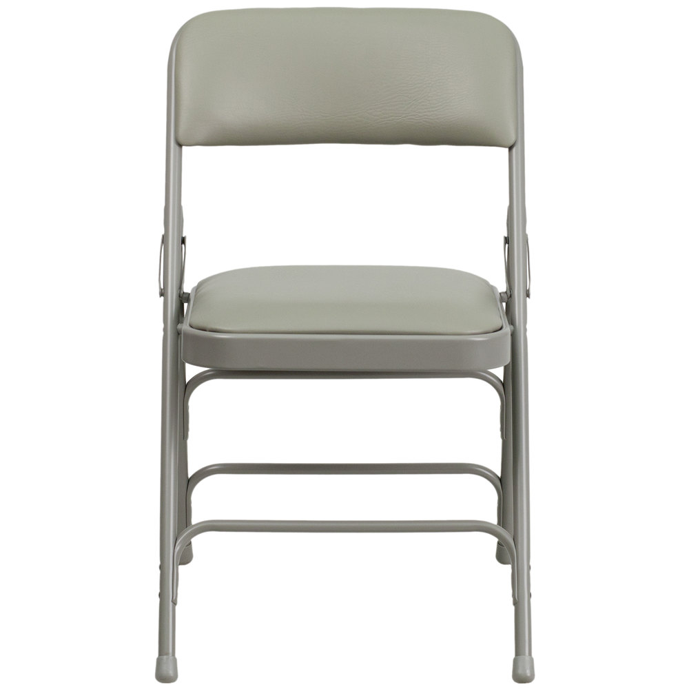 gray metal folding chair with 1 padded vinyl seat. Black Bedroom Furniture Sets. Home Design Ideas