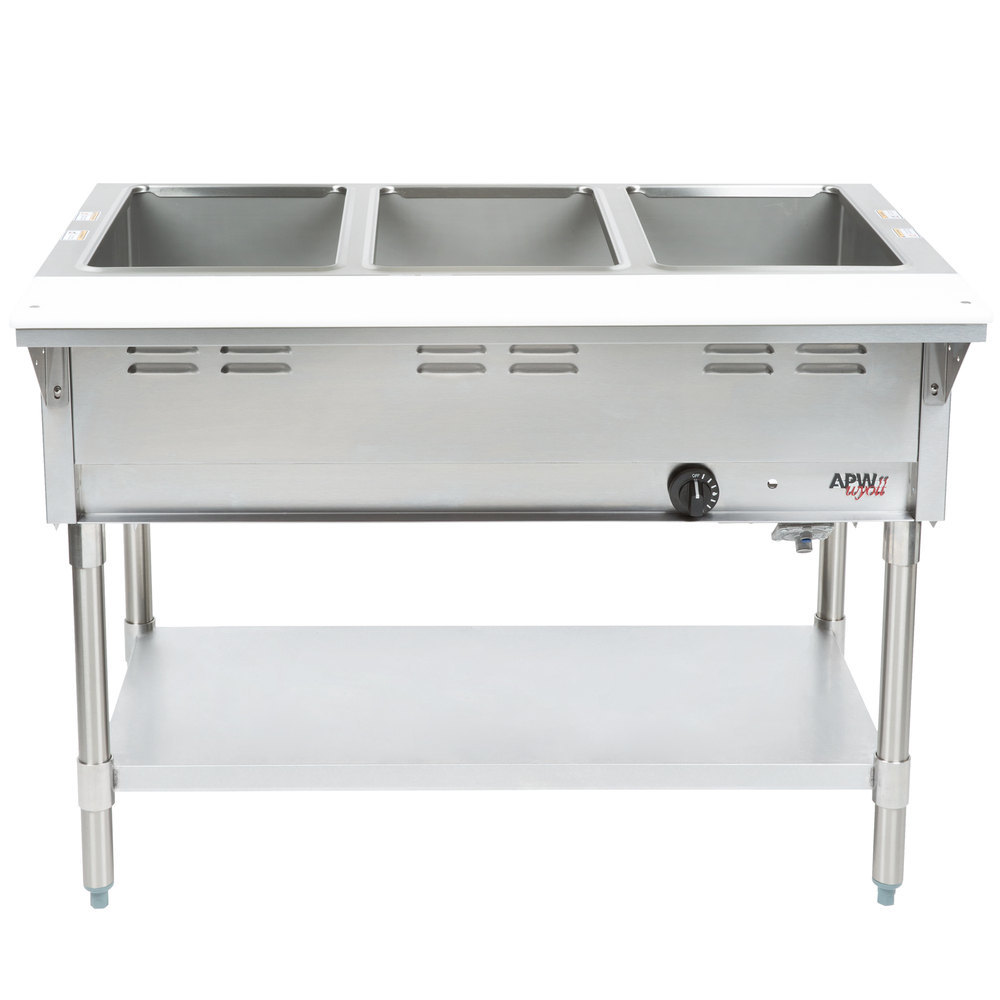 stainless steel shelves apw wyott gst 3s champion open well three pan gas steam 10500