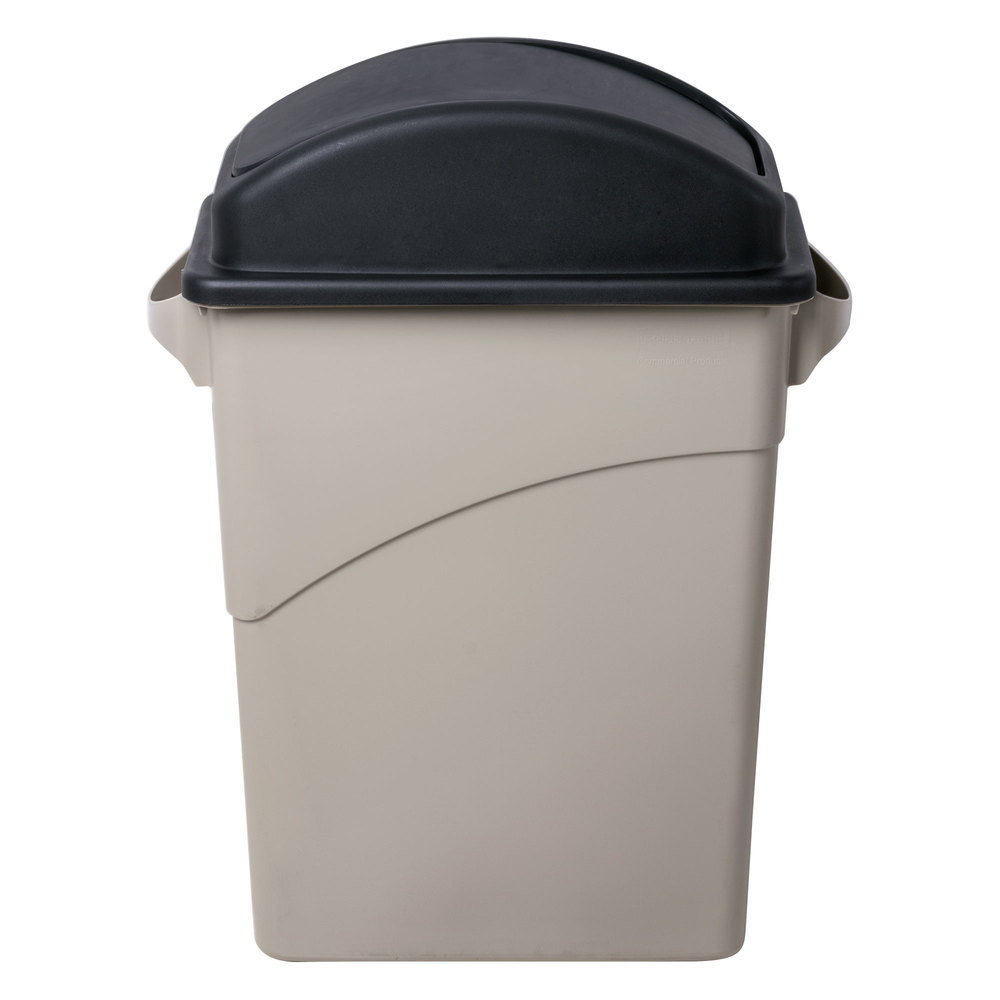 Swing dome wall hugger slim jim trash can lid black - Slim garbage cans for kitchen ...