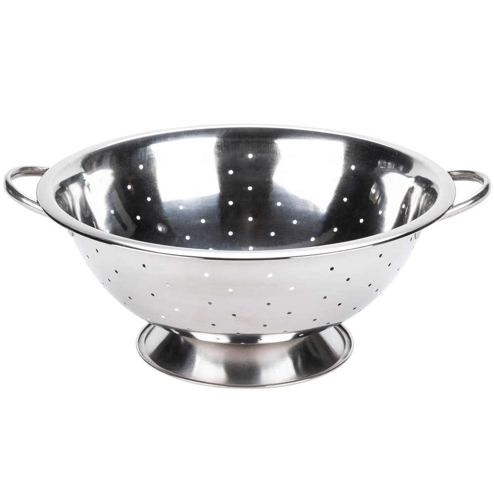 Colander: 8 Qt. Stainless Steel Colander With Base And Handles