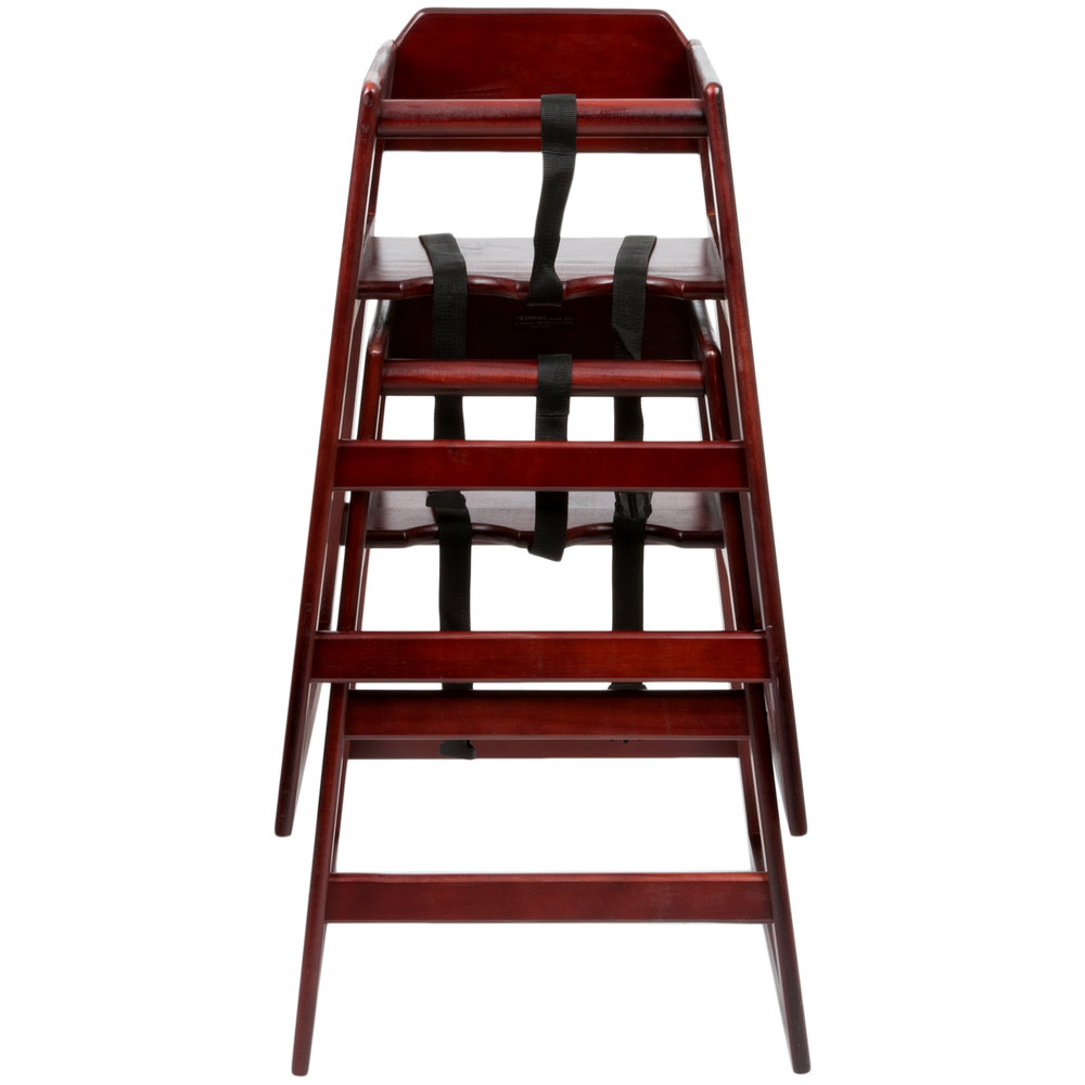 Lancaster Table Seating Stacking Restaurant Wood High Chair With Mahoga