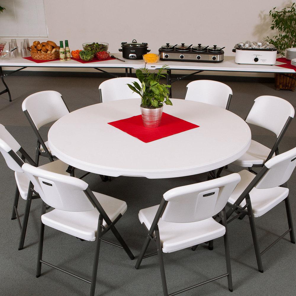 Lifetime Round Folding Table 60 Quot Plastic White Granite