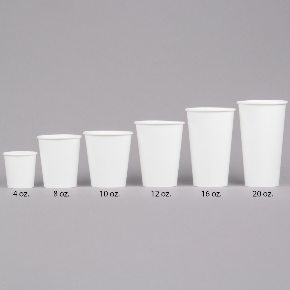 Choice 10 Oz White Poly Paper Hot Cup 1000 Case