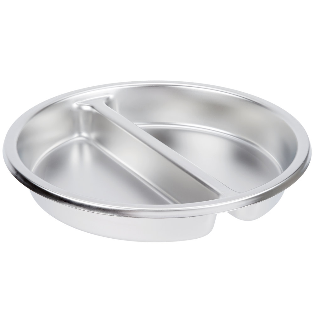 vollrath 46861 5 qt stainless steel 2 compartment round food pan. Black Bedroom Furniture Sets. Home Design Ideas