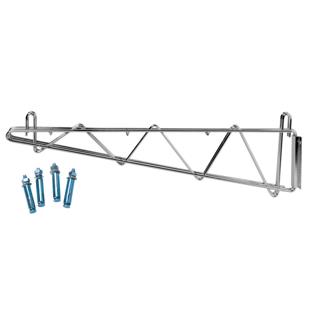 24 inch deep shelves - Regency 24 Inch Deep Double Wall Mounting Bracket For Adjoining Chrome Wire Shelving