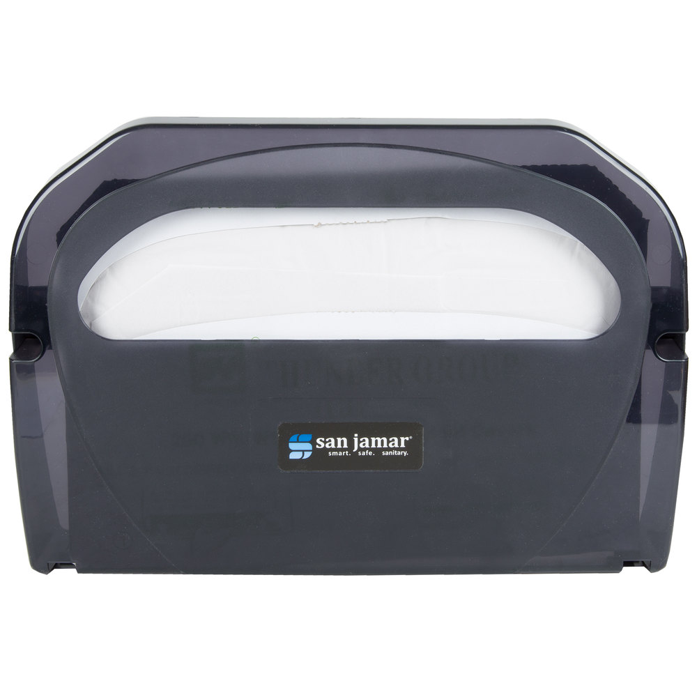 San Jamar TS510TBK Toilet Seat Cover Dispenser Black Pearl