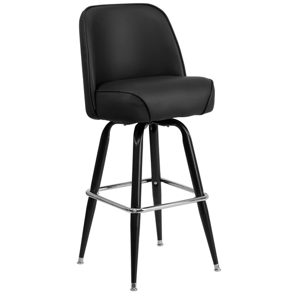 Metal Barstool with 18 1/4 inch Wide Black Padded Vinyl Swivel Bucket Seat