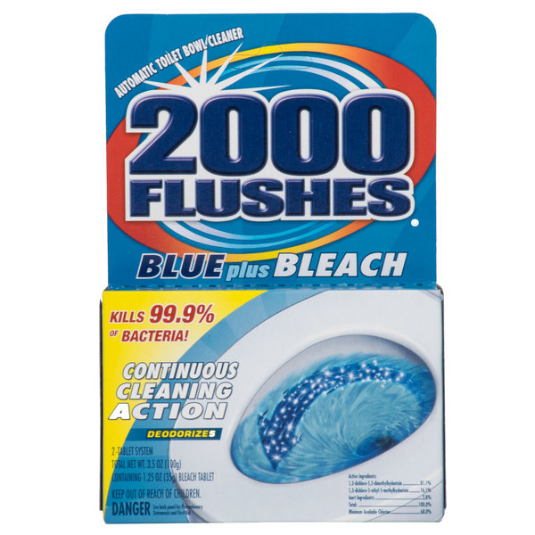 2000 Flushes Blue Plus Bleach Automatic Toilet Bowl Cleaner - 12/Case