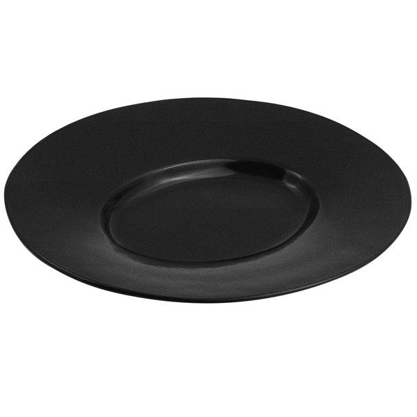 Bon Chef 2090 19 inch x 16 inch Sandstone Black Speckled Cast Aluminum Wide Rim Platter