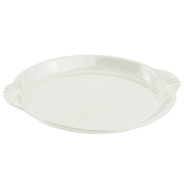 Bon Chef 2073 20 inch x 14 inch Sandstone Ivory Cast Aluminum Shell and Fish Platter