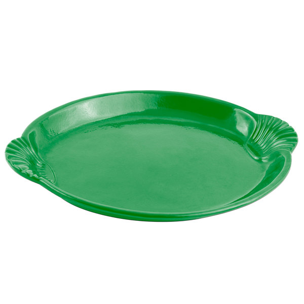 Bon Chef 2073 20 inch x 14 inch Sandstone Calypso Green Cast Aluminum Shell and Fish Platter