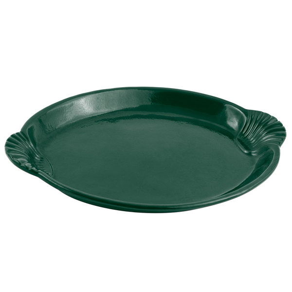 Bon Chef 2073 20 inch x 14 inch Sandstone Hunter Green Cast Aluminum Shell and Fish Platter