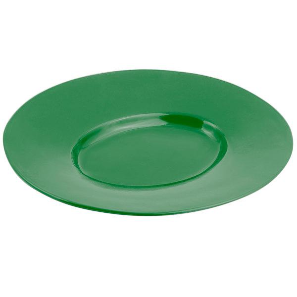 Bon Chef 2090 19 inch x 16 inch Sandstone Calypso Green Cast Aluminum Wide Rim Platter
