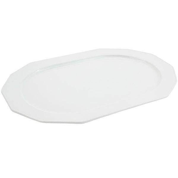 Bon Chef 9101 20 inch x 14 inch Sandstone White Cast Aluminum Long Prism Tray