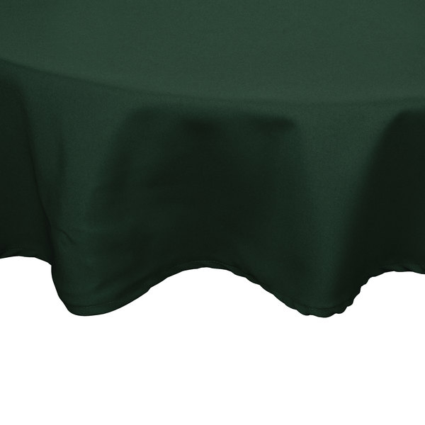 132 inch Round Forest Green 100% Polyester Hemmed Cloth Table Cover