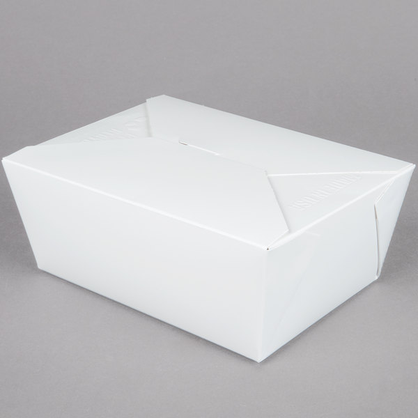 8 inch x 6 inch x 4 inch ChampPak Retro White Paper #4 Take-Out Container - 160 / Case