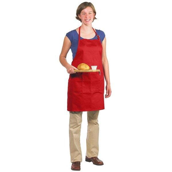 Chef Revival 601BAO-3-RD Customizable Professional Gourmet Full-Length Red Bib Apron - 30 inchL x 28 inchW