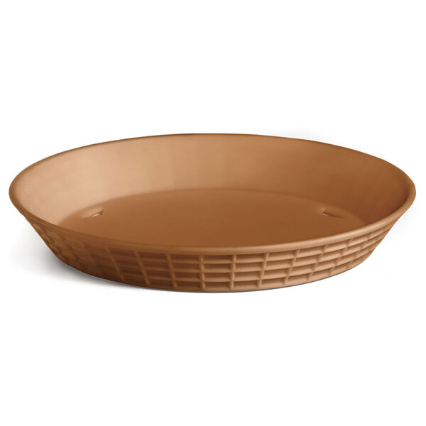 Tablecraft 137512TC 12 inch Terra Cotta Plastic Diner Platter / Fast Food Basket - 12/Pack