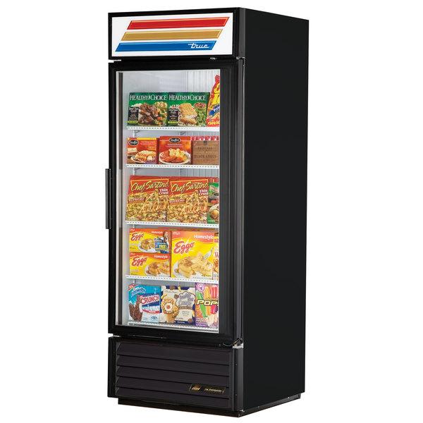 True GDM-26F-LD Black Glass Door Merchandiser Freezer with LED Lighting - 26 Cu. Ft.
