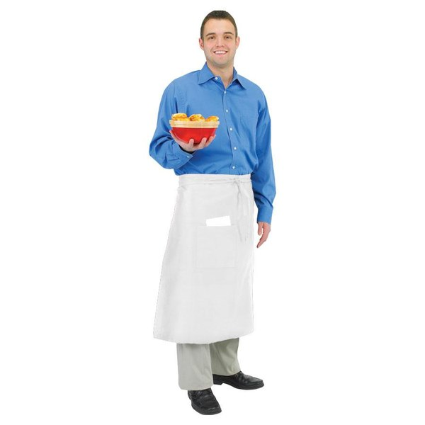 Chef Revival 607BA2-WH Customizable Long White Crew Bistro Apron with Two Pockets - 34 inchL x 28 inchW