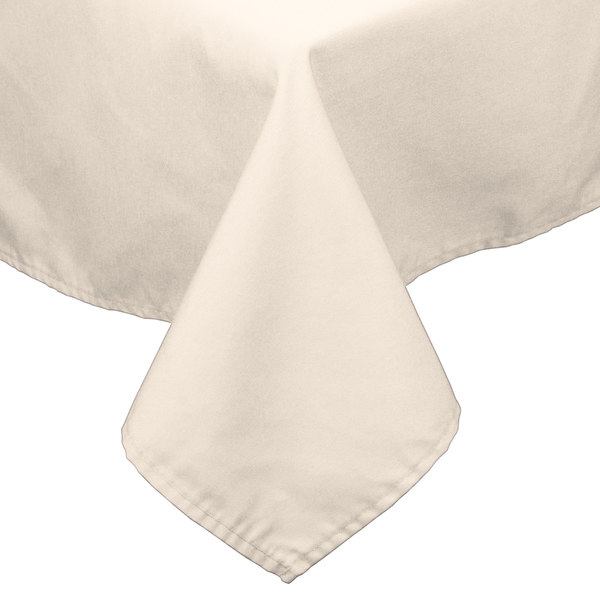72 inch x 72 inch Ivory 100% Polyester Hemmed Cloth Table Cover