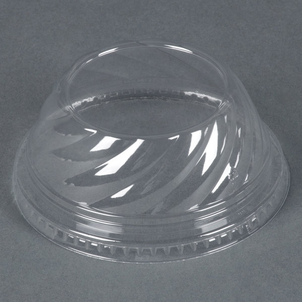 Clear Dome PET Lid for 5 oz., 8 oz., and 12 oz. Sundae Cups - No Hole - 1008 / Case