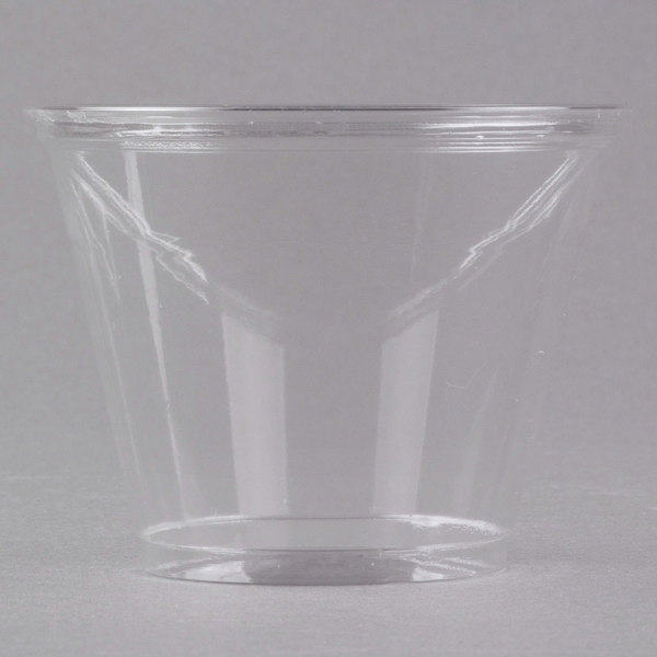 Dart Solo UltraClear TP9R 9 oz. Clear PET Plastic Squat Cold Cup  - 1000/Case