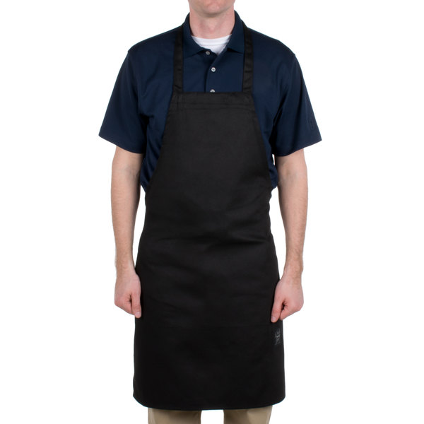 Chef Revival 601NP-BK Customizable Black Bib Apron - 34 inchL x 28 inchW