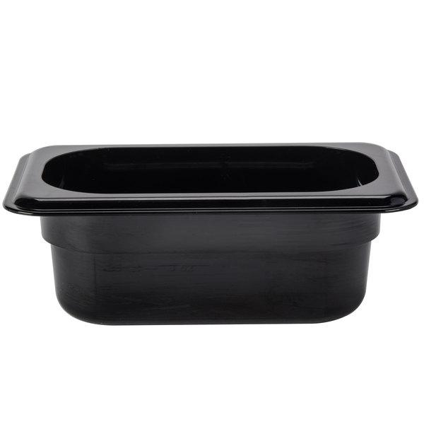 Cambro 92HP110 H-Pan 1/9 Size Black High Heat Food Pan - 2 1/2 inch Deep