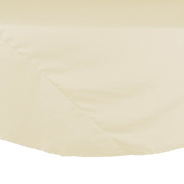 132 inch Ivory Round Hemmed Polyspun Cloth Table Cover