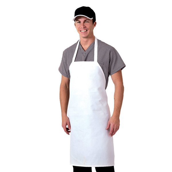 Chef Revival 600PS-NP 34 inch x 28 inch Customizable White Polyester Bib Apron