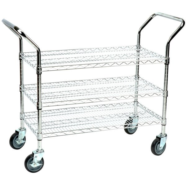 Regency 18 inch x 36 inch Three Shelf Chrome Heavy Duty Utility Cart