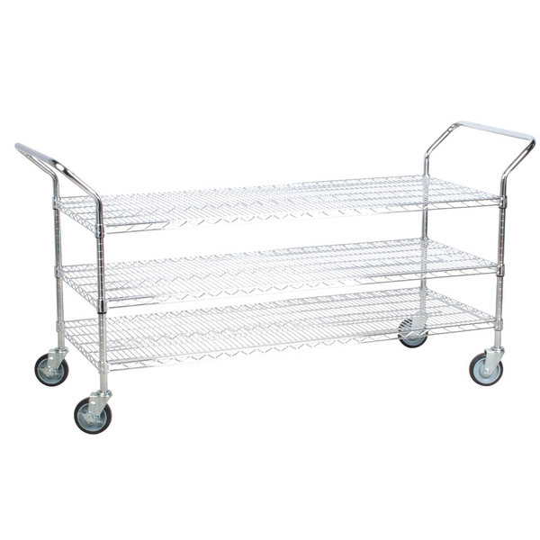 Regency 24 inch x 60 inch Three Shelf Chrome Heavy Duty Utility Cart