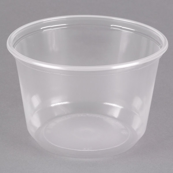 Choice 16 oz. Microwavable Translucent Round Deli Container - 500/Case