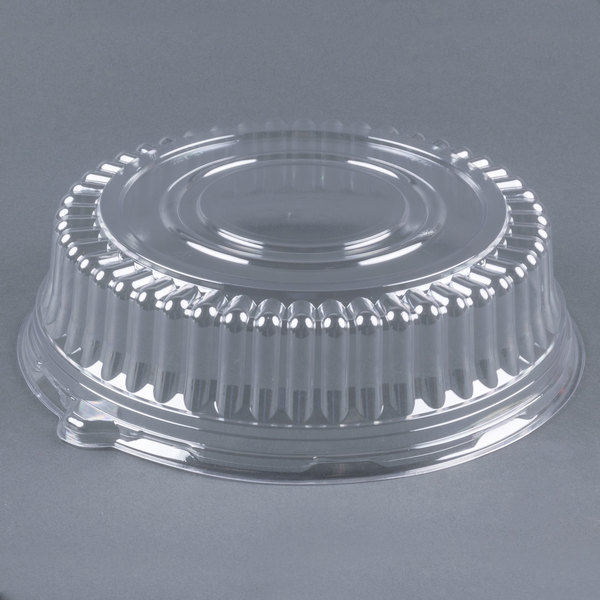 Visions 12 inch Clear PET Round Catering Tray Dome Lid - 25 / Case