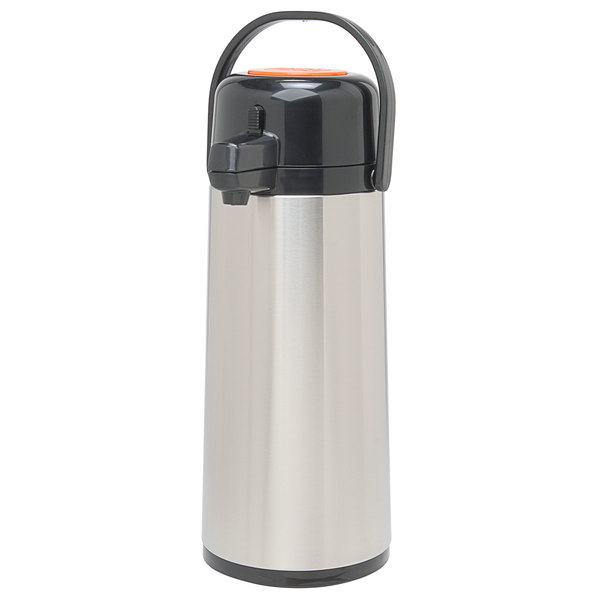 Grindmaster 70769-C 2.2 Liter Glass Lined Decaf Airpot with Orange Push Button - 6 / Case