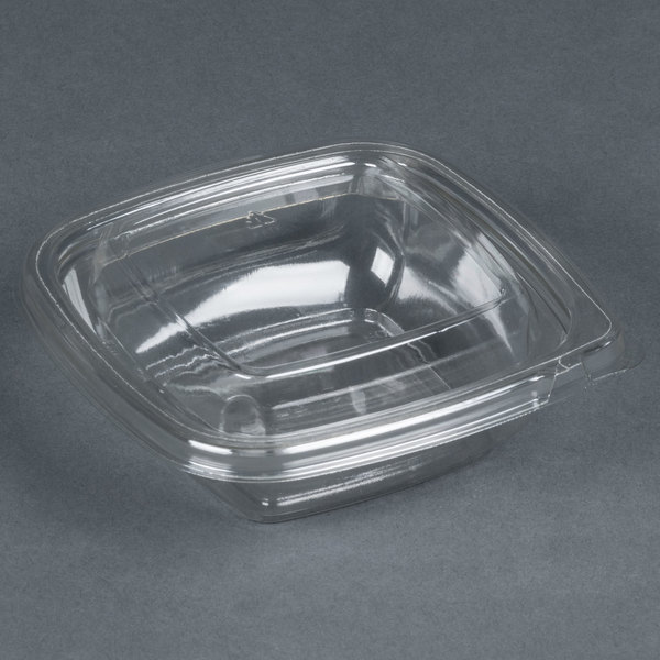 Sabert C15008TR250 Bowl2 8 oz. Clear PETE Square Tamper Evident Bowl with Lid - 250/Case