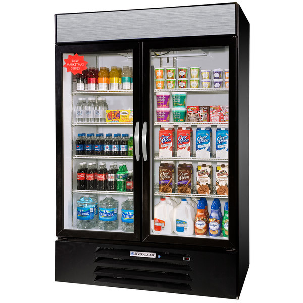 Beverage Air MMR49-1-B-LED Black Marketmax Refrigerated 2 Glass Door Merchandiser with LED Lighting - 49 Cu. Ft.