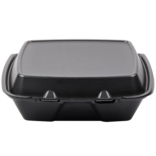 Dart Solo 90HTB1R 9 inch x 9 inch x 3 inch Black Foam Square Take Out Container with Hinged Lid - 200/Case
