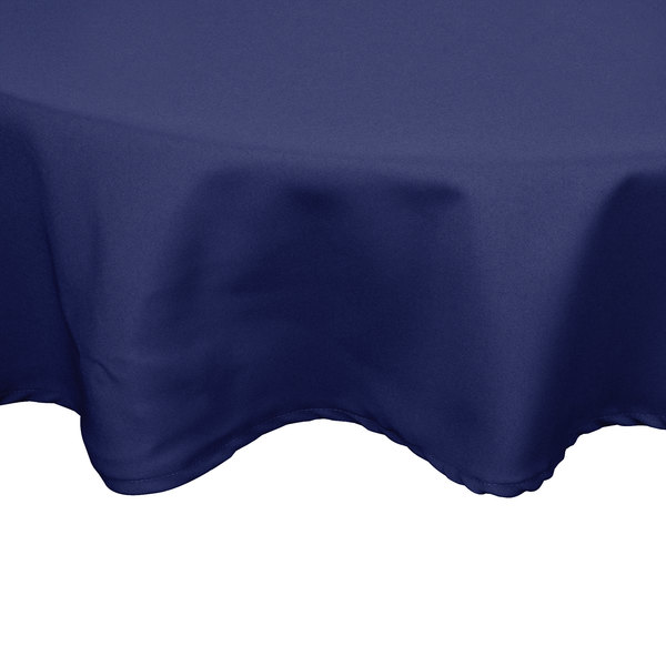 72 inch Round Navy Blue 100% Polyester Hemmed Cloth Table Cover