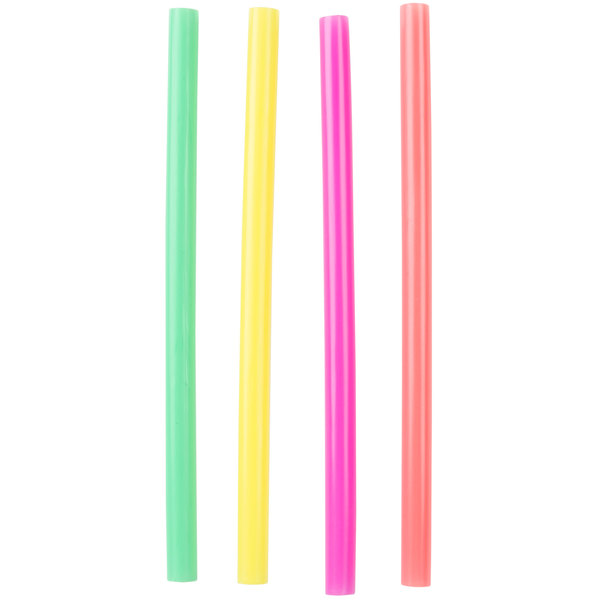 Choice 8 1/2 inch Colossal Unwrapped Neon Straws - 500 / Pack