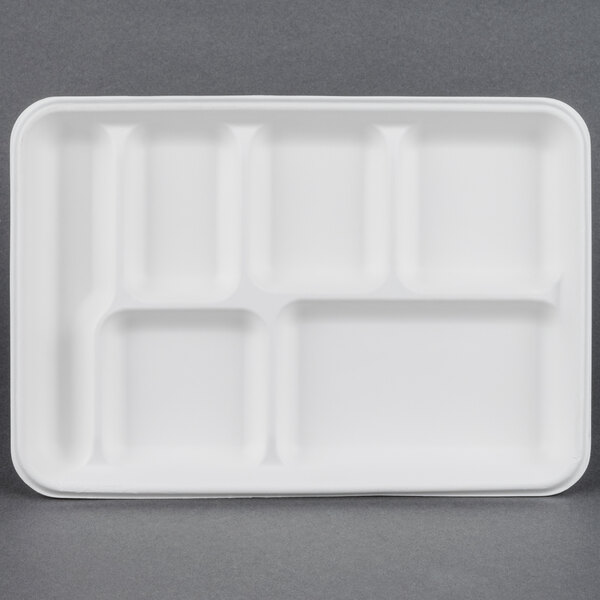 EcoChoice 8 inch x 10 inch Biodegradable, Compostable Sugarcane / Bagasse 6 Compartment Tray - 400 / Case